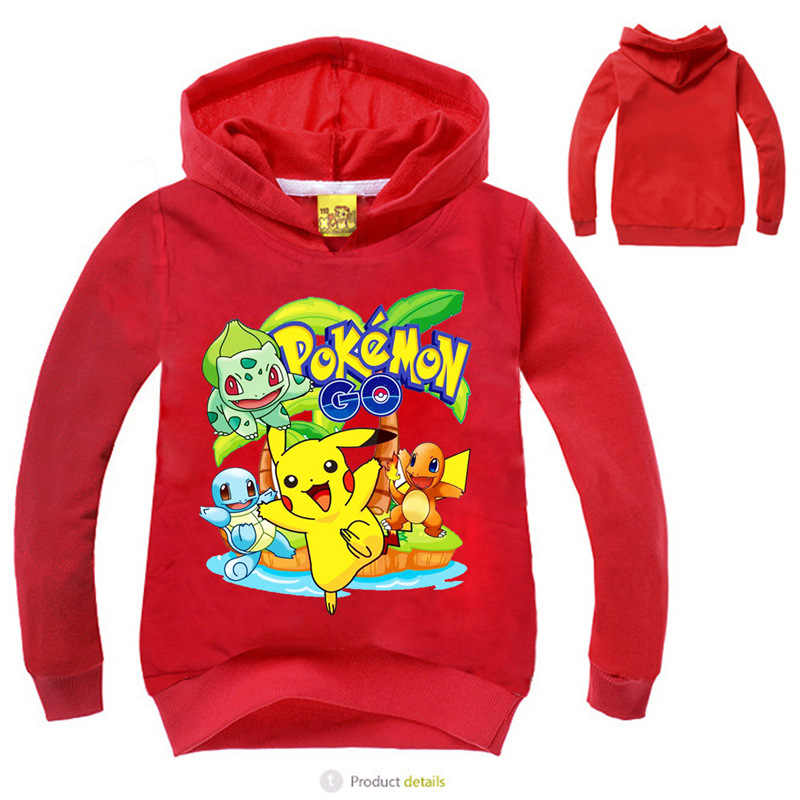 ed7e0f49594db Autumn clothing Pokemon hoodie Children T shirts Cartoon Pikachu Charmander  Boys Clothes Cotton Pocket Monster Girls clothing