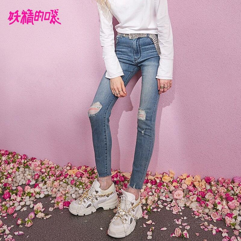 ELF SACK 2019 New Woman Pants Cotton Casual Full Length Women Mid Waist Skinny Jeans Ladie Denim Trousers Femme Pencil Pants