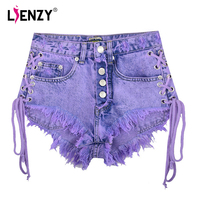 LIENZY Summer Sexy Women Lace Up Jeans Shorts High Waist Short Jeans Button Fly Bilateral Bandage