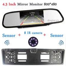 2017 Авто Европейский Рамка Номерного знака камера Парковки Сзади Автомобиля Камера вид Два Датчик парковки Зеркало Автомобиля Монитор TFT LCD экран