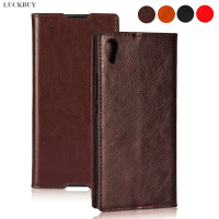 LUCKBUY Classic Business Style Crazy Horse Pattern Genuine Leather Flip Cover For Sony Xperia XA1 Book