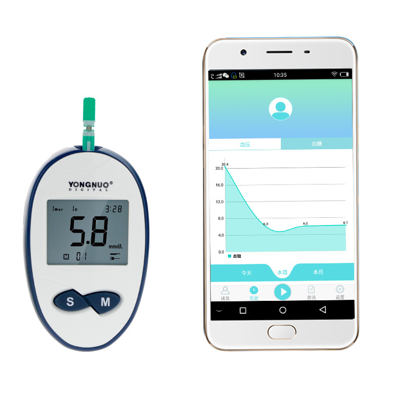 Portable Bluetooth-enabled Glucose Meter Blood Sugar Monitoring Glucose Electronic thermometer Glucose glucose meter with high quality accessories urine disease glucose meter test article 50 pc free blood 50 pcs of health care