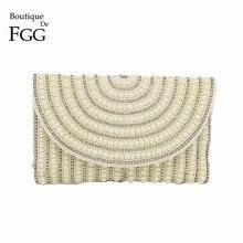 купить Boutique De FGG Handmade Crystal Beaded Women Beige Evening Envelope Clutch Purse Wedding Party Dinner Cocktail Handbag Bag дешево