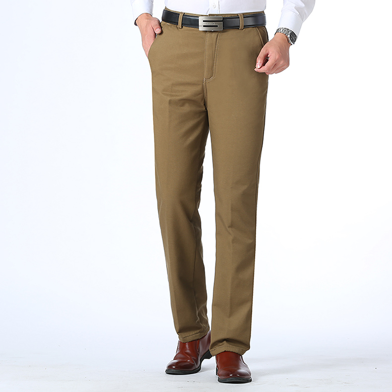 Autumn Winter Men Warm Fleece Classic Black Cotton Pants Mens Business Loose Long Trousers Quality Casual Work Pants Overalls