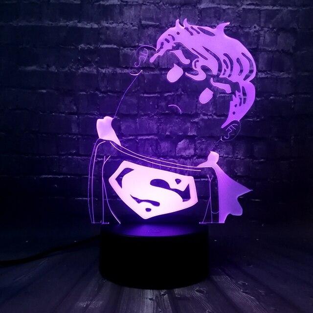 Capitão América Escudo Maravilha Lenda Q 3D ilusão Acrílico mesa de luz da noite LEVOU Toque lâmpada USB Menino crianças brinquedo de Presente de super-heróis