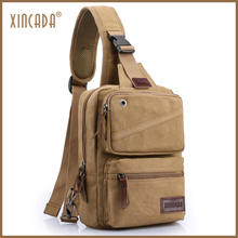 купить XINCADA Men's Bag Through Over the Shoulder Soild Canvas Chest Outdoor Pack Crossbody for Men Male Short Trip Classic Sling Bag дешево