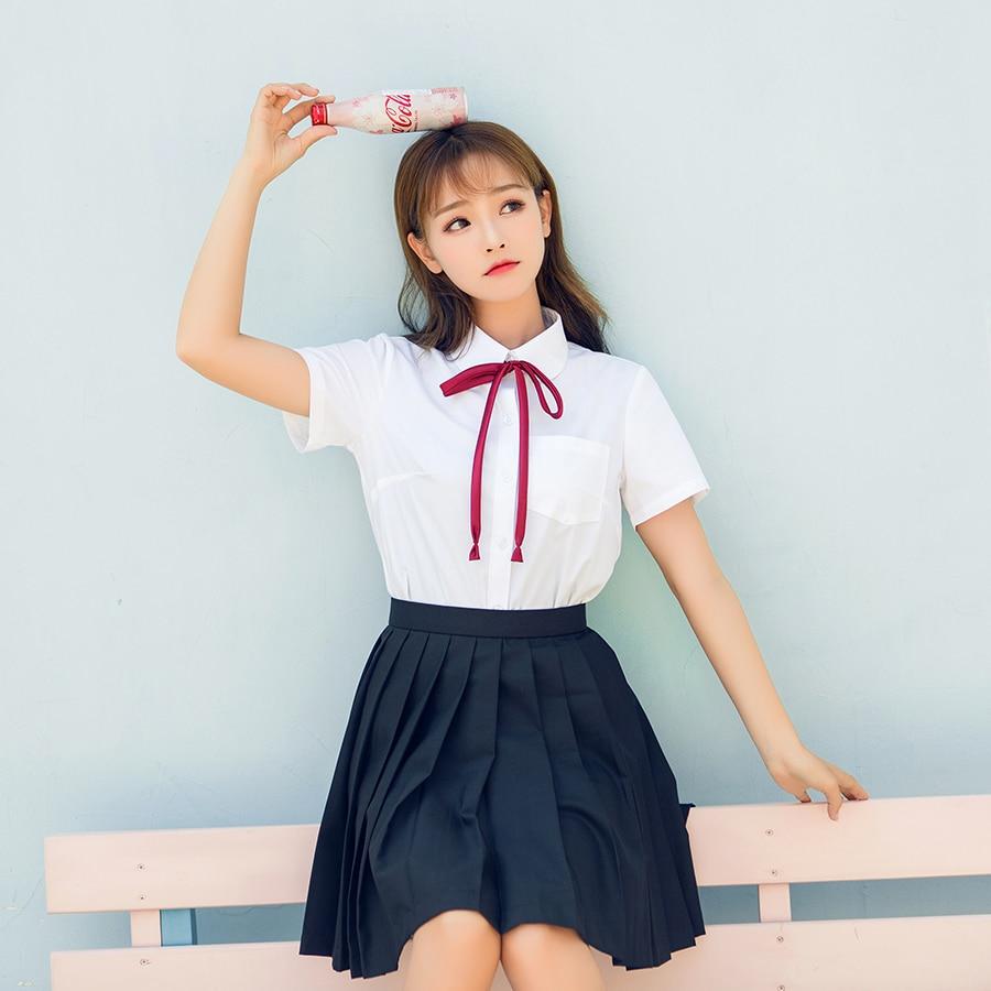 Korean School Uniform Girls Jk Navy Sailor Suit For Women Japanese School Uniform Short Sleeve White Shirt + Navy Blue Skirt