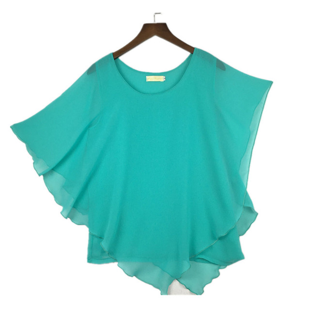 plus size S-4XL 5XL 6XL Summer Women Chiffon Blouses Bating Sleeve chiffon shirts blousas shirts,18 color vestidos casual shirts 6