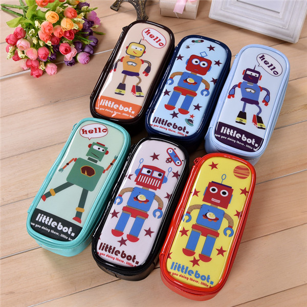 1PC Funny Waterproof Cartoon Robot School Pencil Case Student Stationery Large Capacity Pen Bag Pouch with Zipper for Boys Girls big capacity high quality canvas shark double layers pen pencil holder makeup case bag for school student with combination coded lock