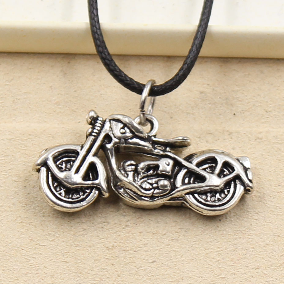 New Fashion Tibetan Silver Color Pendant Motorcycle Necklace Choker Charm Black Leather Cord Factory Price Handmade Jewelry