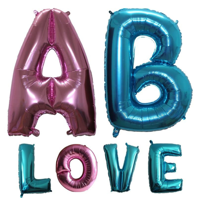 Besar 40 inci cahaya biru & merah jambu Surat Foil Belon Dekorasi Pernikahan Parti Hari Lahir A-Z Helium Surat Bekalan parti belon