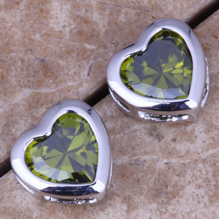 Glamorous Green Peridot Silver Stud Earrings For Women S0455