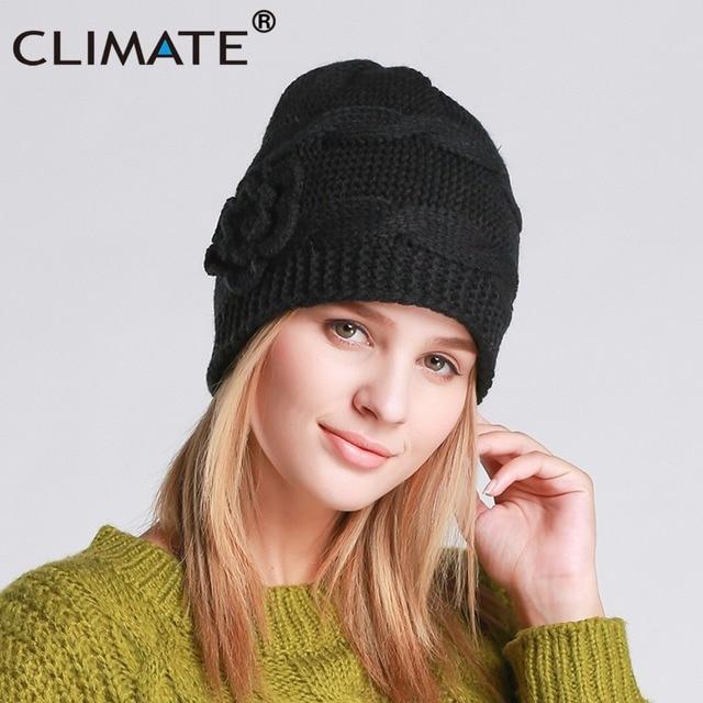 CLIMATE Women Girls Winter Warm Beanie Hat Women Black Color Flower Knitted  Hat Beanie Nice Warm db035e108c3