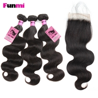 Funmi Brazilian Body Wave with Closure 3 Bundles with Closure Virgin Human Hair Brazilian Hair Weave Bundles with Closure