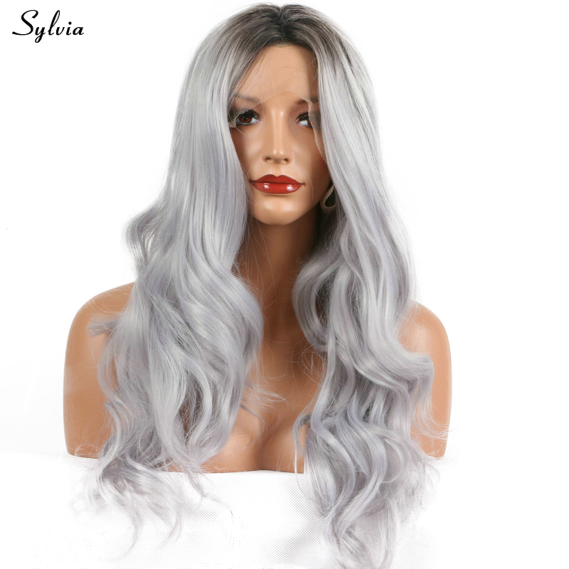 Sylvia Heat Resistant Silver Grey Ombre Dark Roots Synthetic Lace Front Wig Body Wave Hair Middle Part Long Women Soft Hairstyle