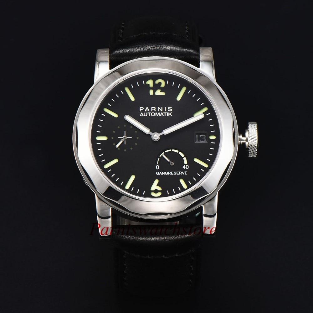 44mm PARNIS black dial Sapphire glass ST 2530 Automatic Men's Watch цена и фото