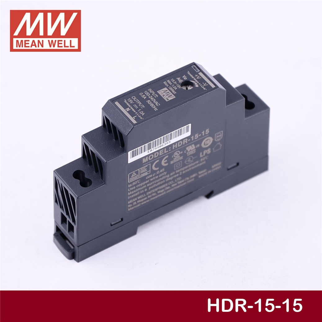 (12.12)MEAN WELL HDR-15-15 15V 1A meanwell HDR-15 15W Single Output Industrial DIN Rail Power Supply [sumger2] mean well original dr 100 15 15v 6 5a meanwell dr 100 15v 97 5w single output industrial din rail power supply