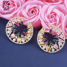 Siscathy Trendy Cubic Zirconia Paved Stud Earrings Women Geometric Flower Full Micro Fashion pulseras mujer moda 2019 Jewelry