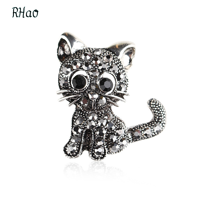 Blucome Cute Little Cat Brooches Pin Up Jewelry For Women Suit Hats Clips Corsages rhao Brand Brooch Bijouterie