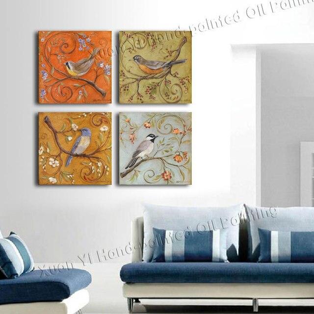 Aliexpress Com Buy 4 Panels Modern Printed Coffee Canvas: Aliexpress.com : Buy 4 Panel Printed Modern Birds Painting