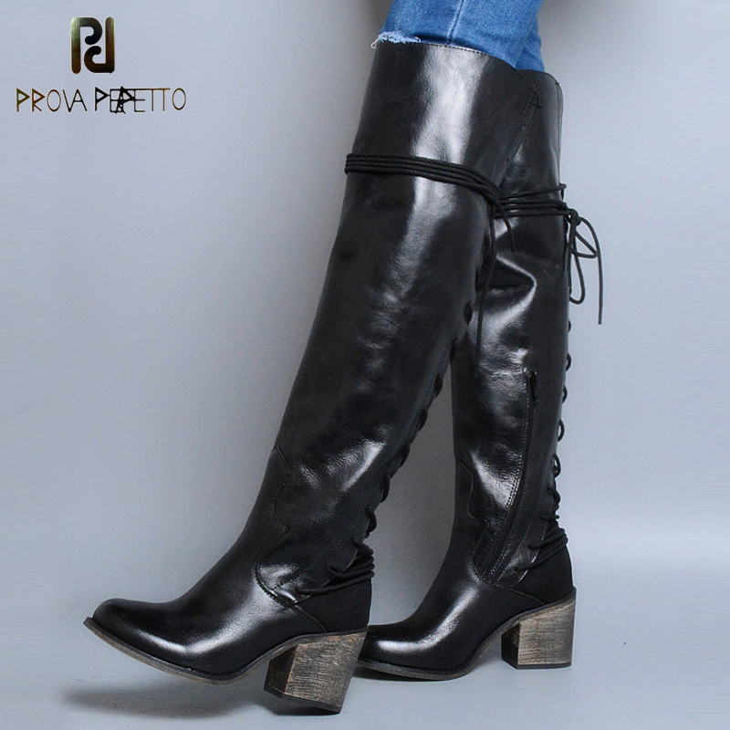 Prova Perfetto Genuine Leather Winter Over Knee Boots Square High Heel Back Cross Tied Decoration Punk