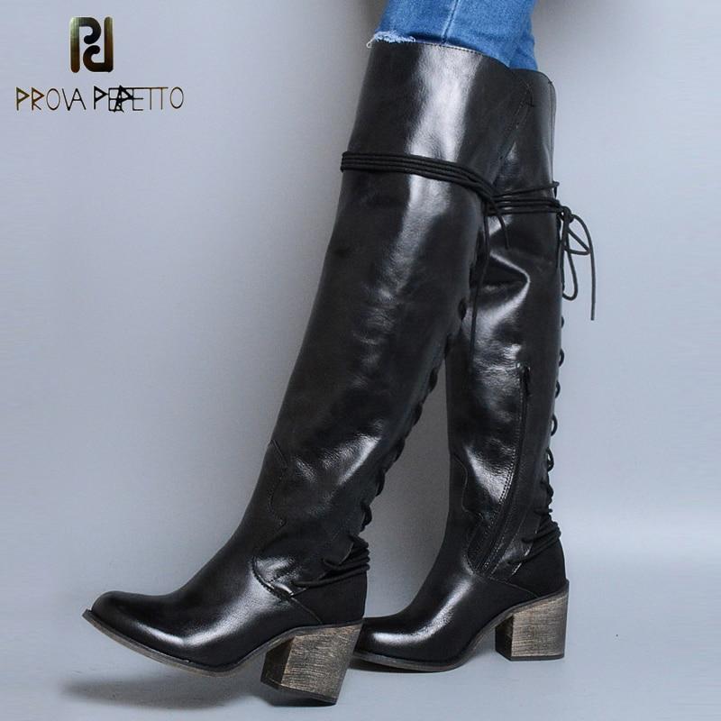 Prova Perfetto cuero genuino botas de invierno sobre la rodilla tacón alto cuadrado espalda cruzada atada decoración estilo Punk botas de mujer-in Botas sobre la rodilla from zapatos    1