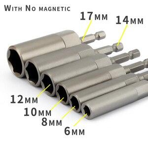 Image 4 - 6Pcs 6mm 17mm 80mm אורך נוסף עמוק בורג אגוז קצת סט מטרי 1/4 6.35mm השפעת שוק Hex Socket מתאם עבור כלי חשמל