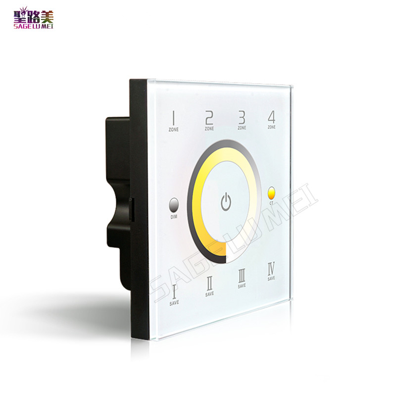 LTECH DX7 4 Zone Touch Panel Wall Mount Controller 2.4G RF Wireless CCT Color Temperature Dimmer AC110V-240V DMX512 Signal Ouput ac110v 240v dx62 wall mount 2 4g rf wireless led sync cct color temperature controller dmx512 signal ouput for dual white strip