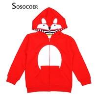 Retail Cartoon Animal Fox Boy Girl Hooded Coat Fox Printed Long Sleeve Kids Hoodies Spring Autumn