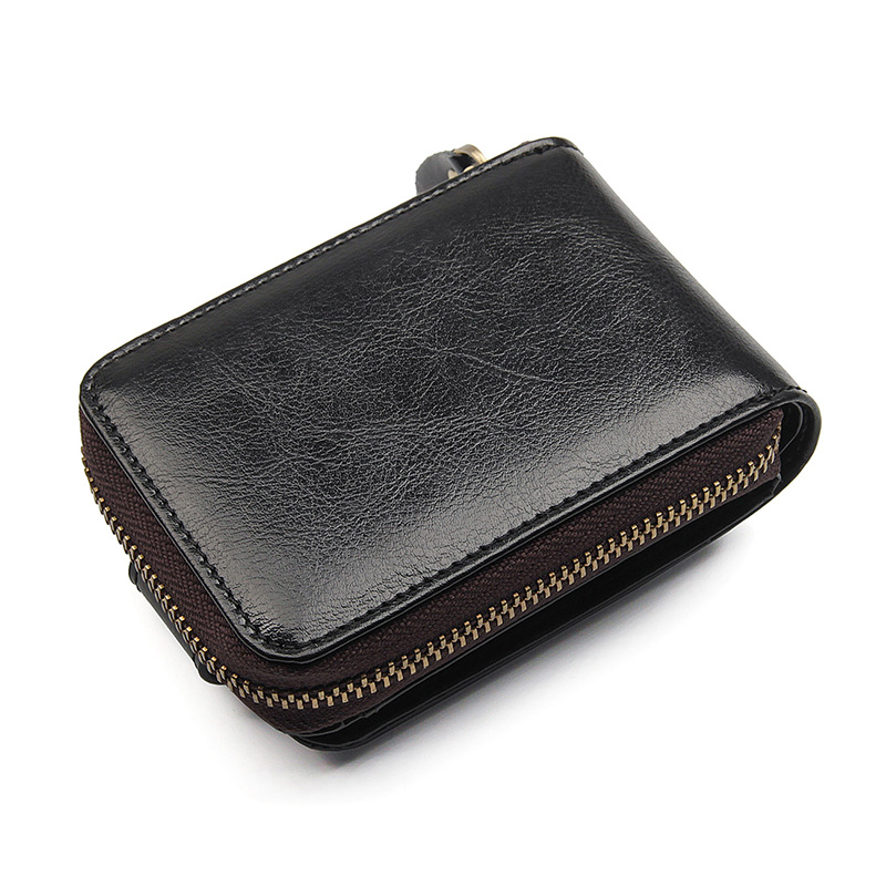 Leather Wallet Zipper Credit Card Wallet RFID Credit Card Holder Protector ID Card Window R 8192 in Money Clips from Luggage Bags
