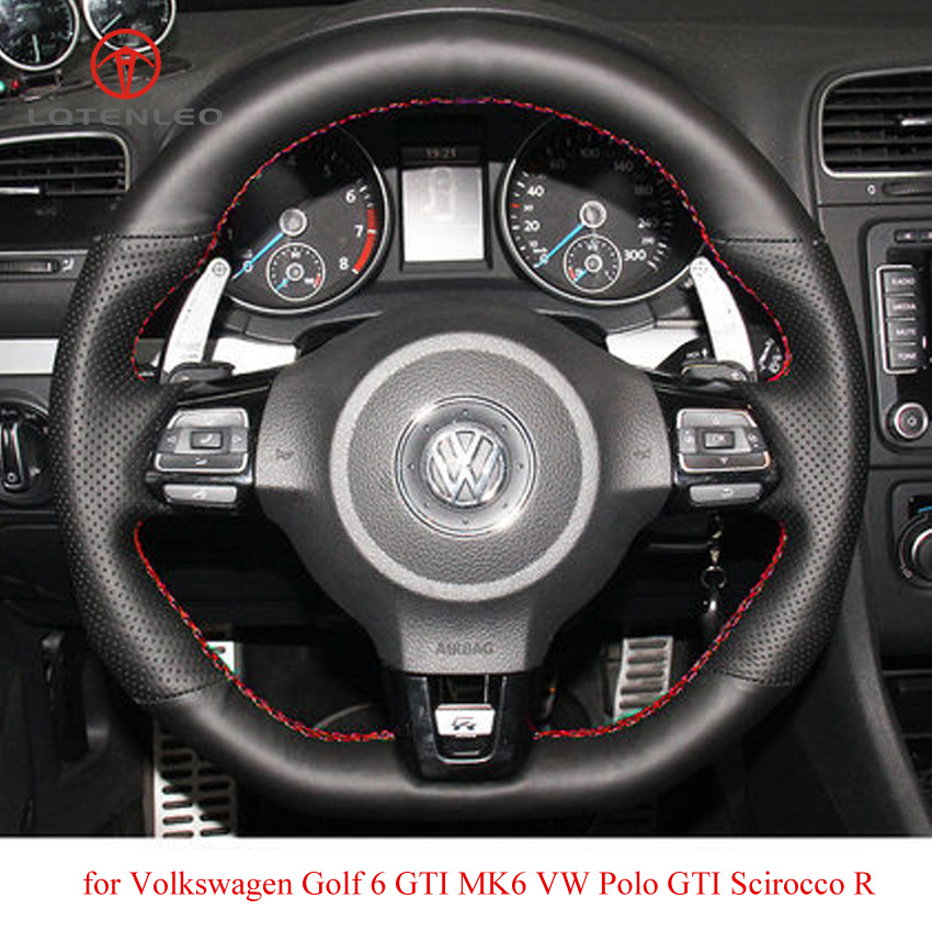 LQTENLEO Black Genuine Leather Car Steering Wheel Cover for Volkswagen Golf 6 GTI MK6 VW Polo