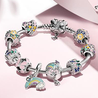 NEW 2019 100% 925 Sterling Silver Flower Spring Fun Paradise Rainbow Butterfly Strings Dreamland Fit Bracelet Set Jewelry Gift