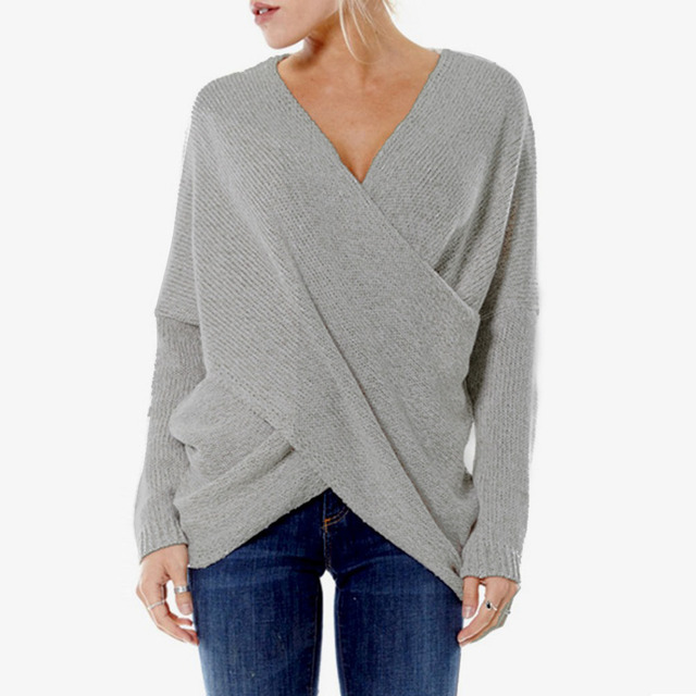 FANALA Sexy Autumn and Winter Women Pullover Sweaters female Drop-Shoulder  Cross Wrap Sweater thickening sweater top thread slim b3c6965e0