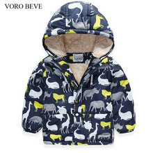 VORO BEVE New 2017 Boys Winter Jacket Warm Coat Print Dinosaur Thicken Kid Hooded Boys Jacket