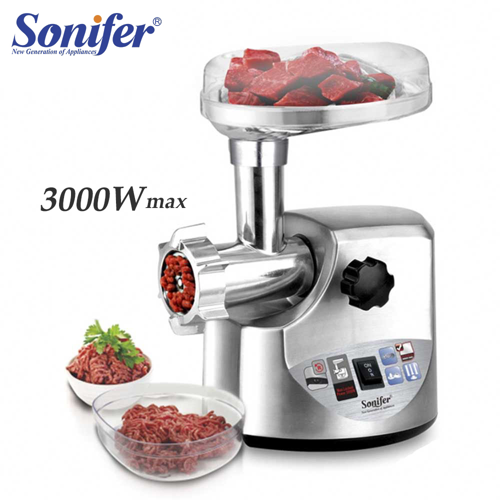 3000W High Power Stainless Steel Home Electric Meat Grinders Sausage Stuffer Meat Mincer Heavy Duty Household