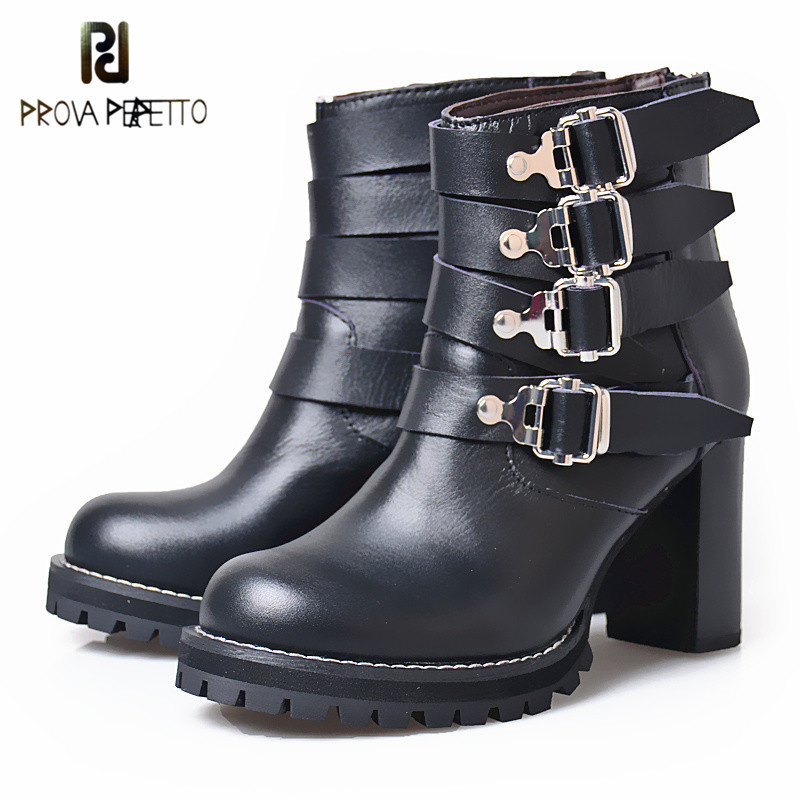 Prova Perfetto Metal Buckle Desige Winter Fashion Women Boots Thick High Heel Chelsea Boots For Women Martin Ankle Boot Plush In prova perfetto fashion round toe low heel mid calf boots feminino buckle belt thick bottom genuine leather women s martin boots