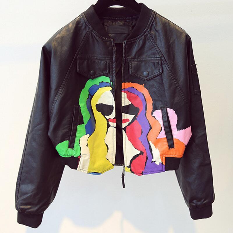 Colorful Punk Printing PU faux Leather short Jacket Hip-pop motorcyle Rock Coat zipper print Graffiti pocket bomber streetwear