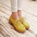 Mulheres do vintage Dedo Do Pé Redondo Robusto Mid Salto Lace Up Brogue Sapatos Oxford Plus Tamanho US4.5-10.5