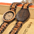 BOBO BIRD Бесплатная Настройка Зебра черное дерево часы для мужчин женщин кварцевые часы для влюбленных