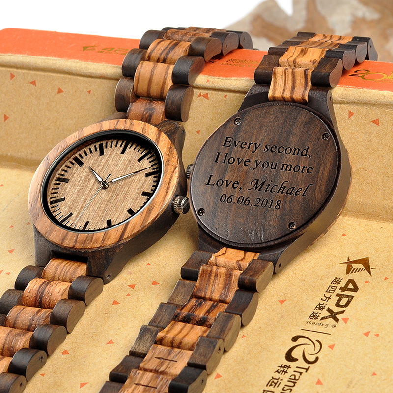 BOBO BIRD Free Customization Zebra Ebony Wooden Watches For Men Women Quartz Lover's Watches