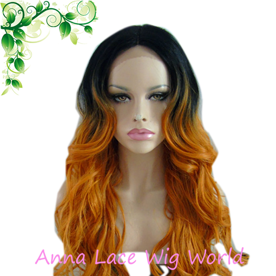 free shipping Synthetic Two Tone Long Deep Wave Lace Front ...
