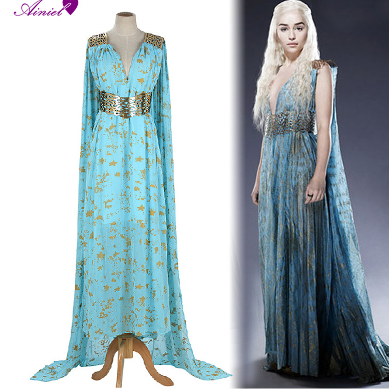 Game of thrones cosplay daenerys targaryen wedding dress for Long blue dress for wedding