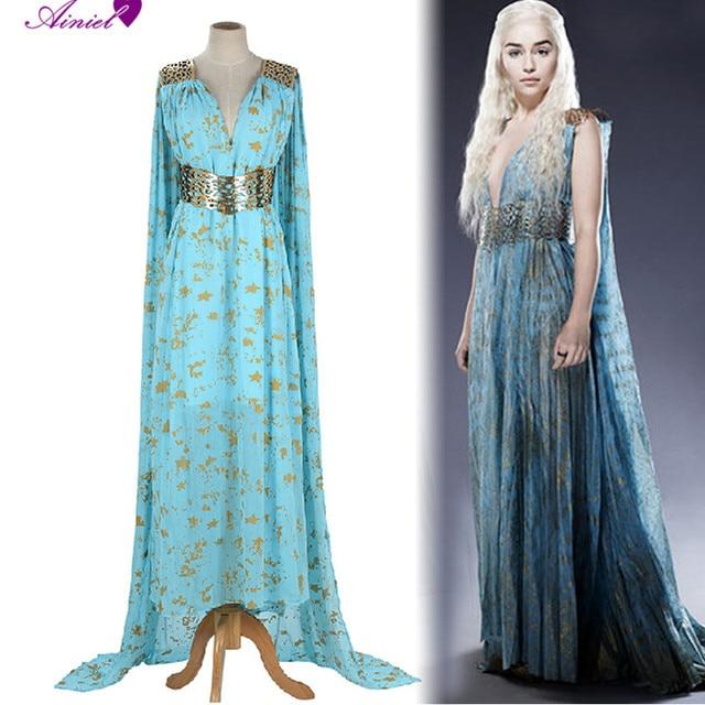 Game of Thrones Cosplay Daenerys Targaryen  Wedding Dress Costume Halloween party long Blue Dress CS185200