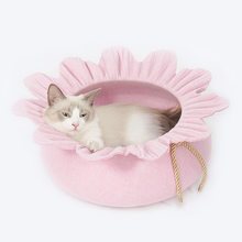 Sunflower Cat Bed Cute Floral Breathable Cat House Warm Portable Pet Basket Puppy Cushion Kennel Sleeping Bag Mat for Kittens(China)