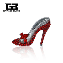 Red Tone Crystal Elegant Lady High-Heel Shoe Brooch Pin High Quality Jewelry