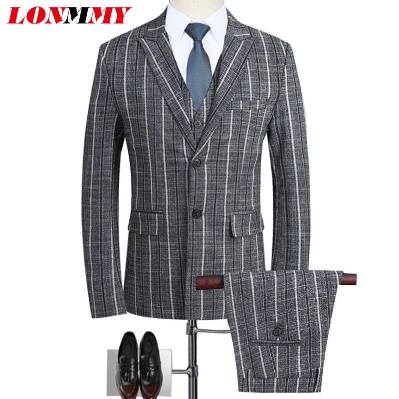 LONMMY 4XL 5XL Men blazers and jackets Stripe Wedding dress suit men coats slim fit Casual blazer masculino 3piece 2018 Spring