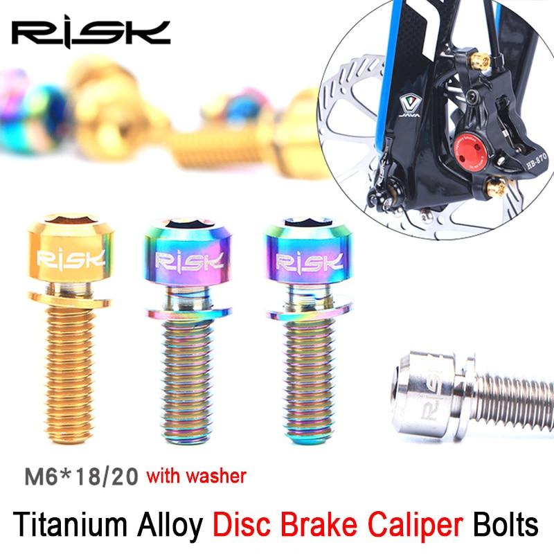RISK 4st M6 * 18mm M6 * 20mm Titanium Alloy Bolt för Skivbroms Caliper Clamp MTB Cykel Skruv Skruv med Spolpaket M6x18 M6x20