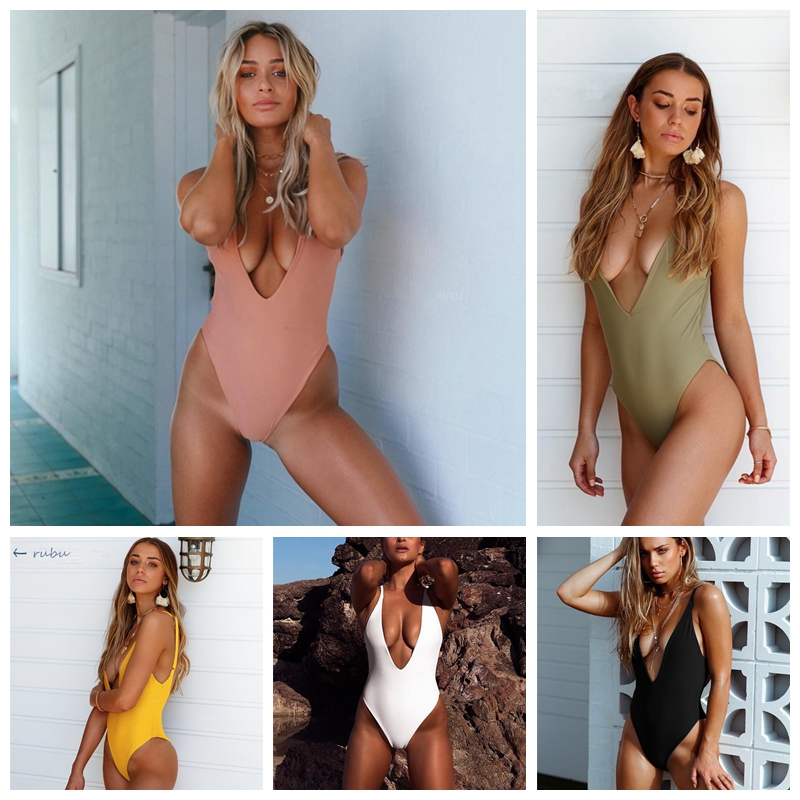 2019 <font><b>One</b></font> <font><b>Piece</b></font> <font><b>Swimsuit</b></font> Female <font><b>Sexy</b></font> Deep V <font><b>Swimwear</b></font> <font><b>Women</b></font> Collar Back Fold Bathing Suit High Cut Beachwears Swim Suit Monokini image