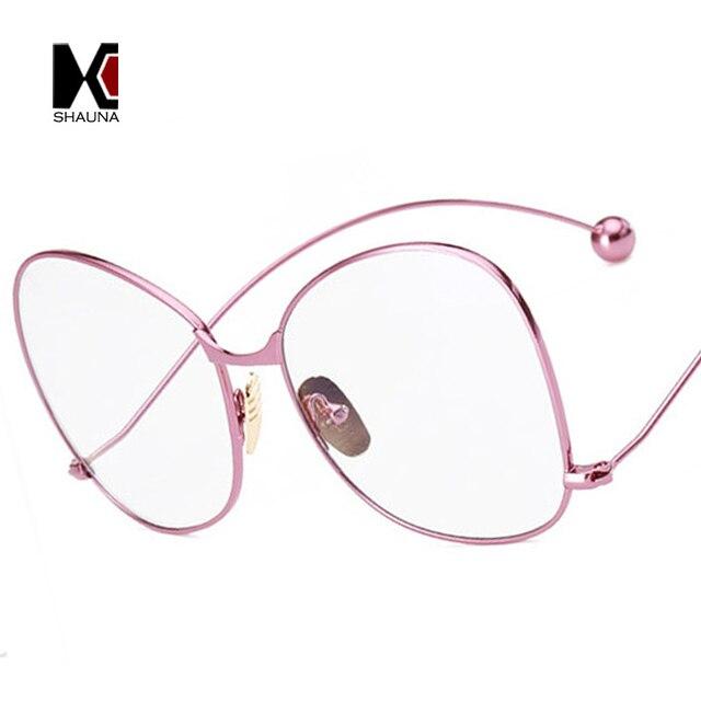 SHAUNA Oversize Ladies Metal Frame Men Round Clear Lens Glasses Fashion  Women Pink Eyewear 1acd6dab9