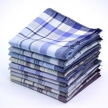 Hanky Handkerchief Towel 100%Cotton Stripe Pocket Men 10pcs Squares Classic Plaid Businesschest